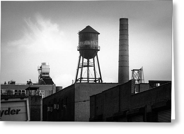Greeting Card featuring the photograph Brooklyn Water Tower And Smokestack - Black And White Industrial Chic by Gary Heller