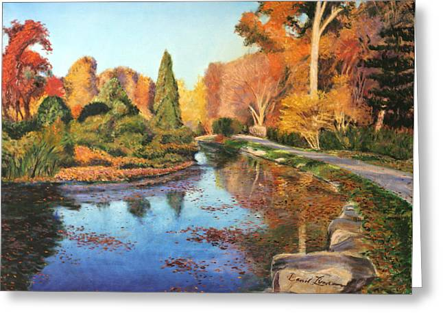 Brookside Garden Greeting Card by David Zimmerman