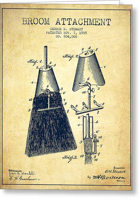 Broom Attachment Patent From 1905 - Vintage Greeting Card by Aged Pixel