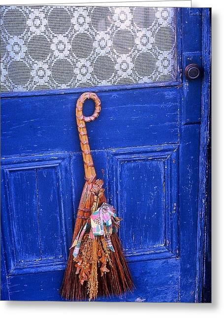 Greeting Card featuring the photograph Broom On Blue Door by Rodney Lee Williams