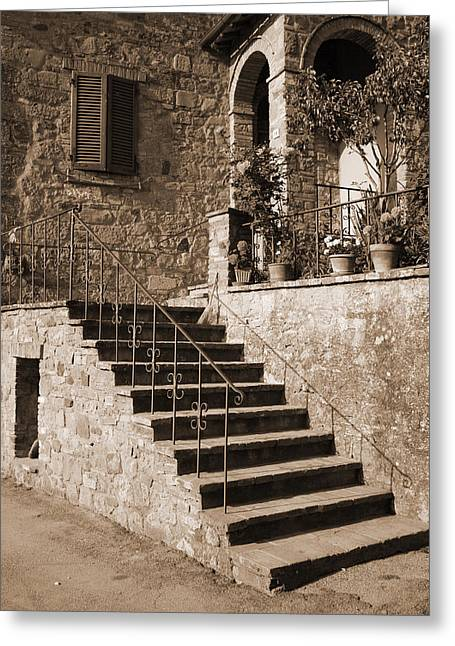 Broom On The Stairs Greeting Card