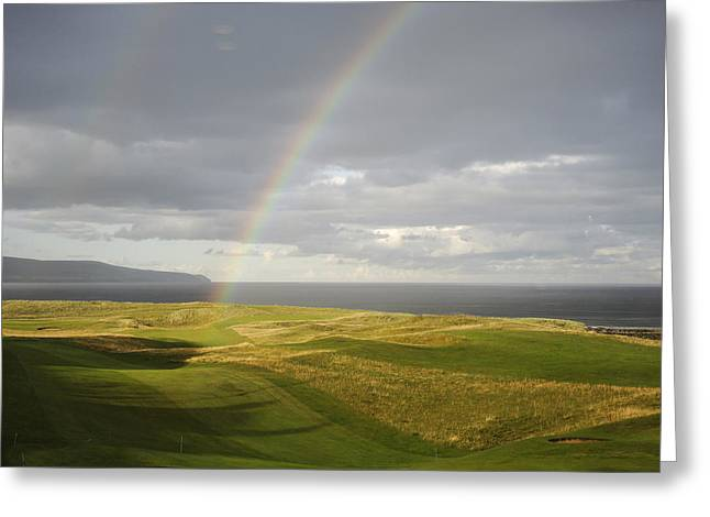 Brora Golf Course Rainbow Greeting Card by Sally Ross