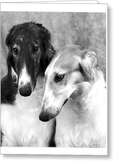 Brother And Sister Borzoi  Greeting Card by Maxine Bochnia