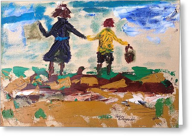 Brother And Sister Playing In The Field. Greeting Card by Roger Cummiskey
