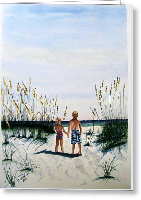 Brother Sister On Beach Sold Greeting Card by Richard Benson