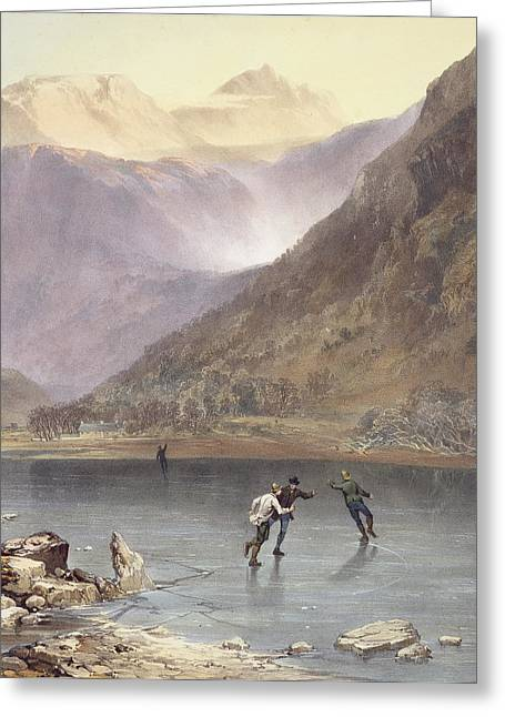 Brothers Water, Detail Of Ice Skaters Greeting Card by James Baker Pyne