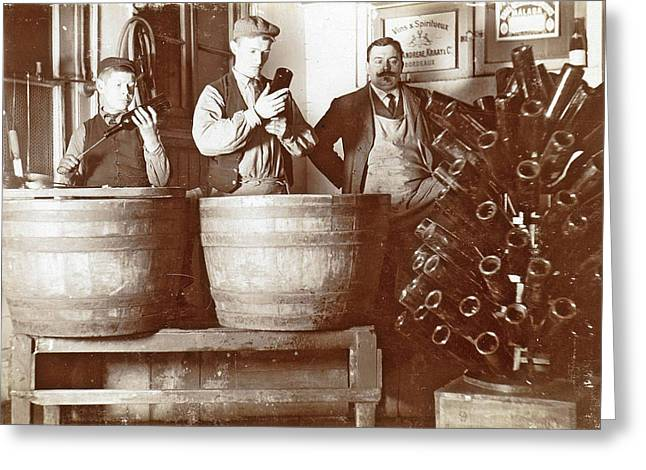 Brouwer And Attendants Cleaning Bottles At A Bottle Drying Greeting Card