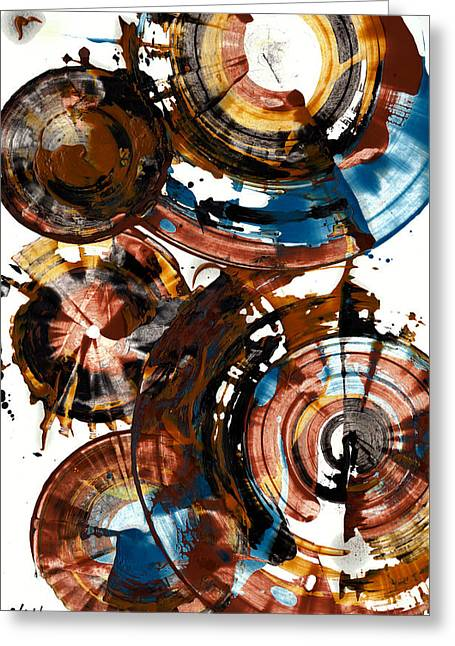 Brown And Blue Spherical Joy - 992.042212 Greeting Card by Kris Haas