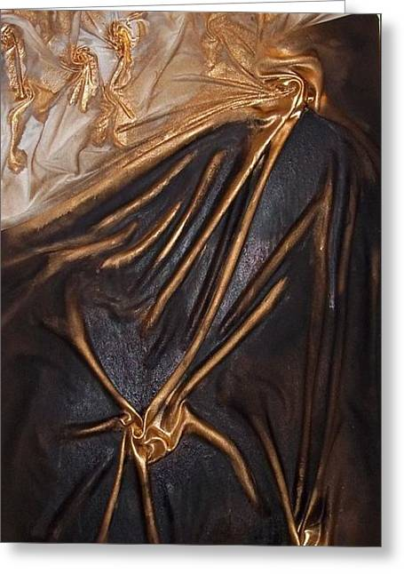 Greeting Card featuring the mixed media Brown And Gold by Angela Stout