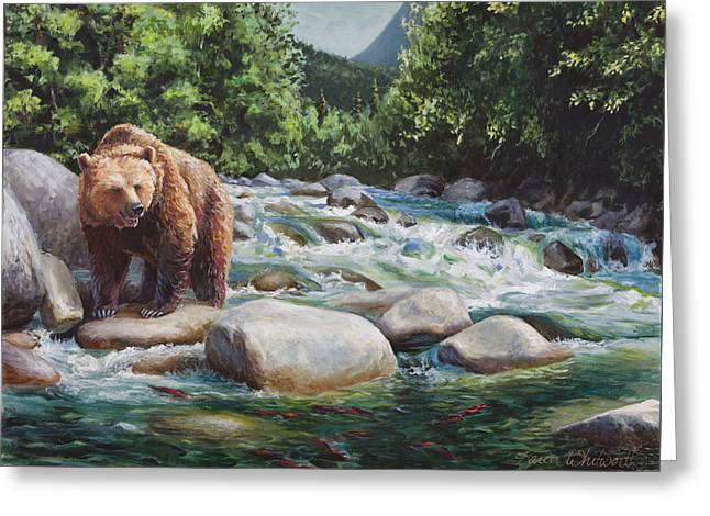 Brown Bear And Salmon On The River - Alaskan Wildlife Landscape Greeting Card