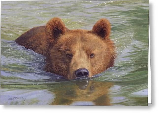 Brown Bear Painting Greeting Card by David Stribbling