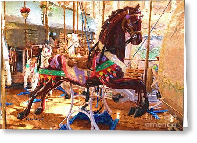Brown Carousel Horse Greeting Card