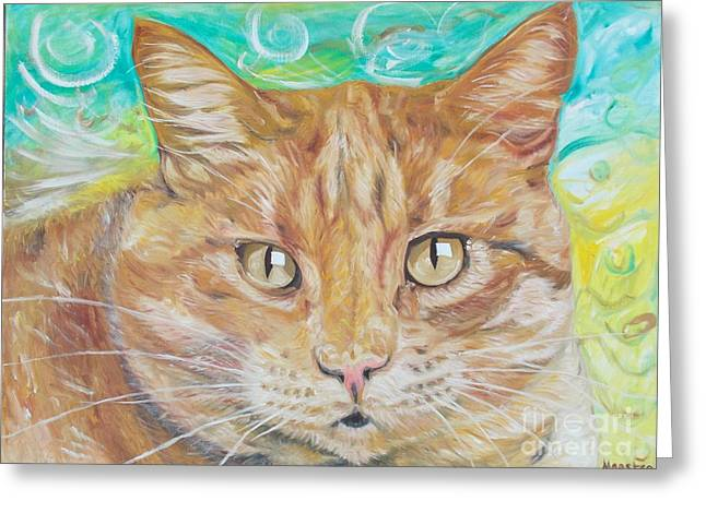 Greeting Card featuring the painting Brown Cat by PainterArtist FINs husband Maestro