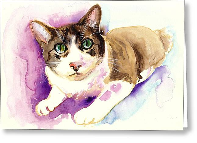 Brown Cat Watercolor Paing Greeting Card by Tiberiu Soos