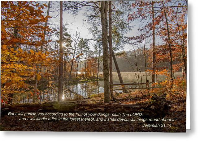 Brown County State Park Nashville Indiana Biblical Verse Ogle Lake Jeremiah  Greeting Card by David Haskett