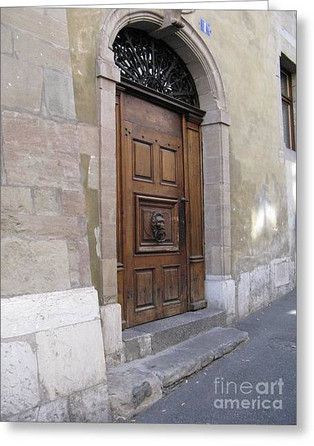 Greeting Card featuring the photograph Brown Door by Arlene Carmel