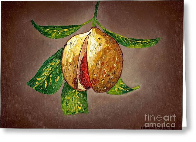 Greeting Card featuring the painting Brown Glow Nutmeg by Laura Forde