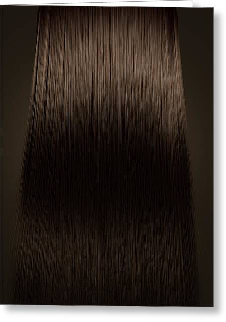 Brown Hair Perfect Straight Greeting Card by Allan Swart