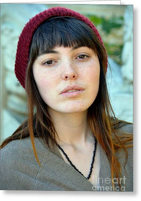 Brown Haired And Freckle Faced Natural Beauty Model Xi Greeting Card