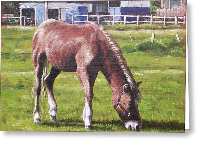 Brown Horse By Stables Greeting Card by Martin Davey