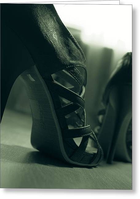 Brown Leather High Heel Shoes Greeting Card