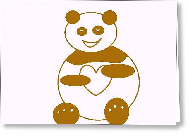 Brown Panda Greeting Card by Ausra Huntington nee Paulauskaite