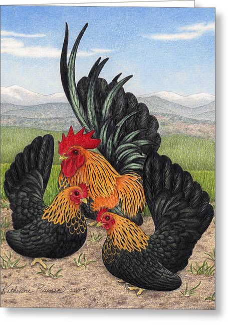 Brown Red Japanese Bantams Greeting Card
