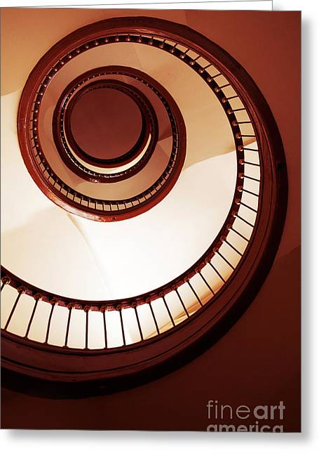 Brown Spiral Staircase Greeting Card