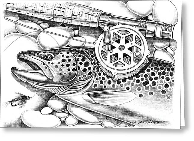 Brown Trout And Antique Reel Greeting Card