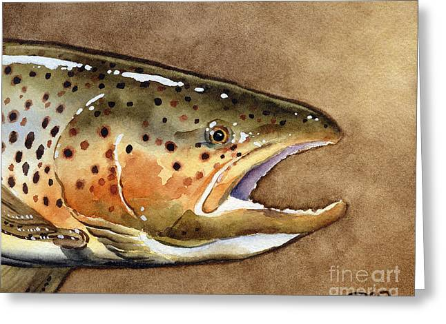 Brown Trout Greeting Card by David Rogers