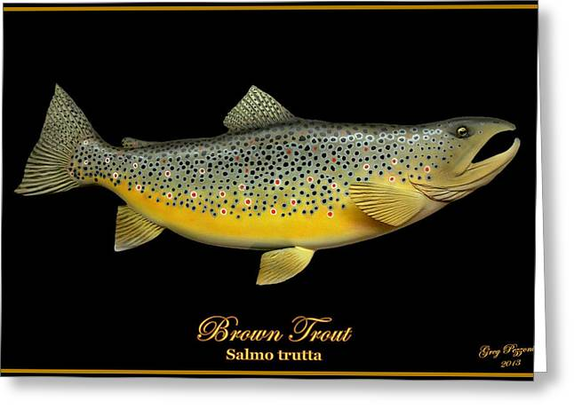 Brown Trout Greeting Card by Greg Pezzoni