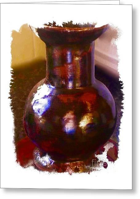 Brown Vase Design Greeting Card by Joan-Violet Stretch
