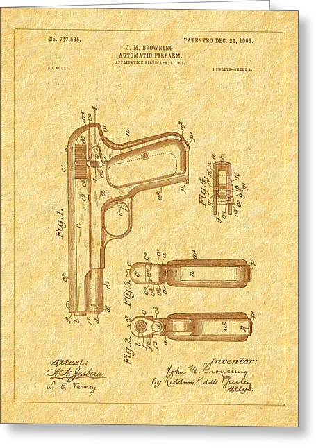 Browning 1903 Automatic Pistol Patent Greeting Card by Barry Jones