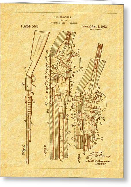 Browning 1922 Firearm Patent Greeting Card by Barry Jones
