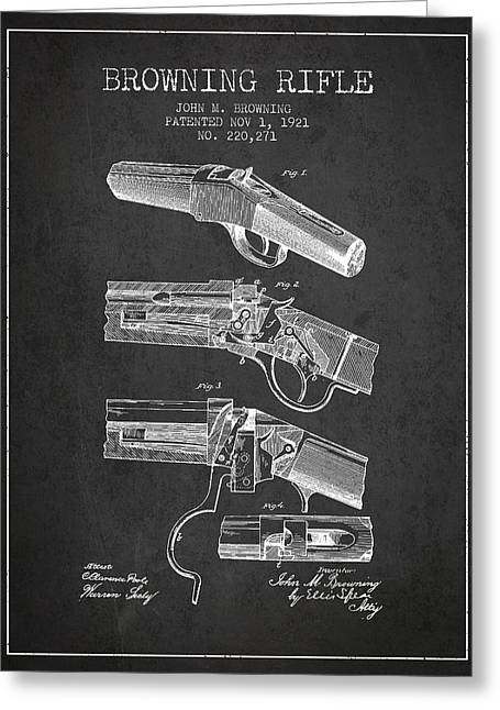 Browning Rifle Patent Drawing From 1921 - Dark Greeting Card by Aged Pixel