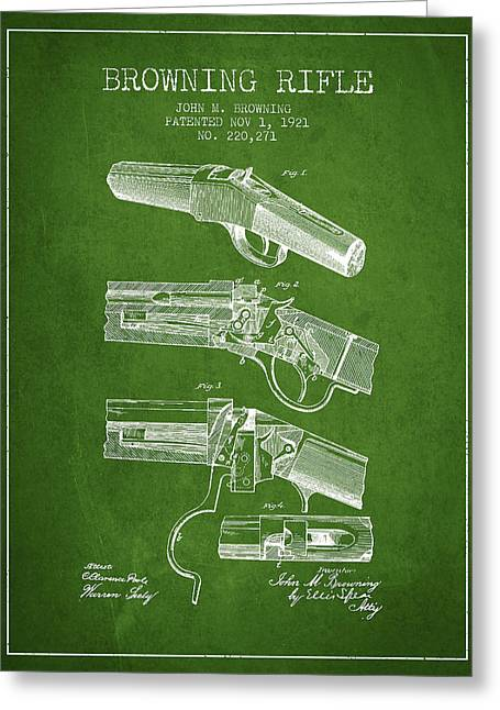 Browning Rifle Patent Drawing From 1921 - Green Greeting Card by Aged Pixel