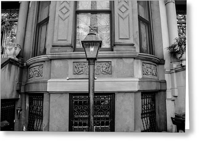 Brownstone In Park Slope Brooklyn In Black And White Greeting Card by Priyanka Ravi
