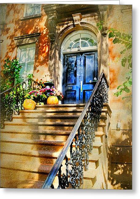 Brownstone Steps Greeting Card