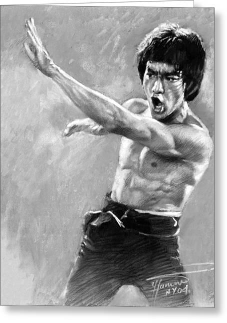 Bruce Lee Greeting Card by Viola El