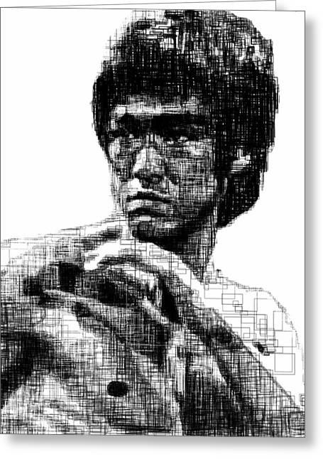 Bruce Lee Greeting Card by Harold Belarmino
