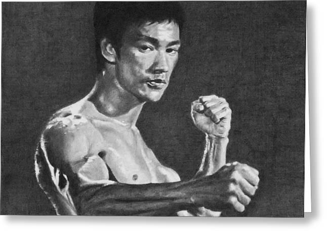 Bruce Lee Greeting Card by Mike OConnell