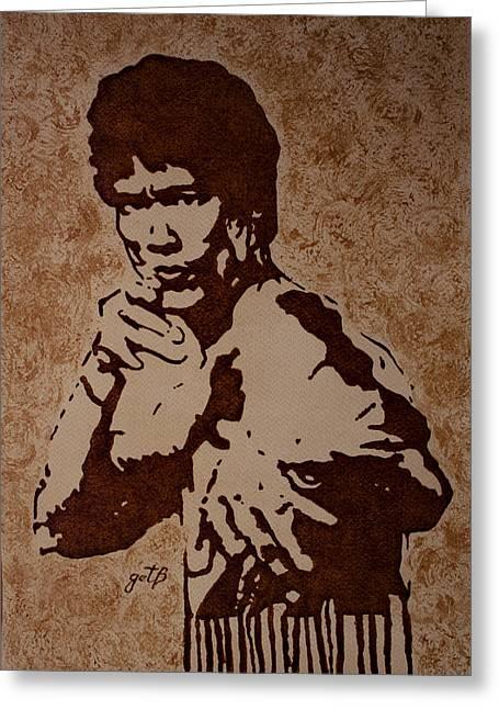 Bruce Lee Original Coffee Painting Greeting Card by Georgeta Blanaru