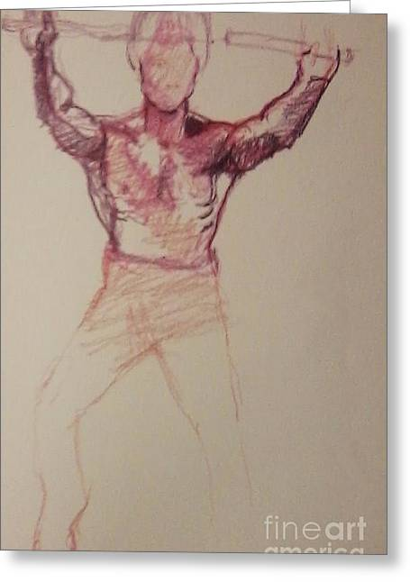 Bruce Lee Sketch Greeting Card by Jamey Balester