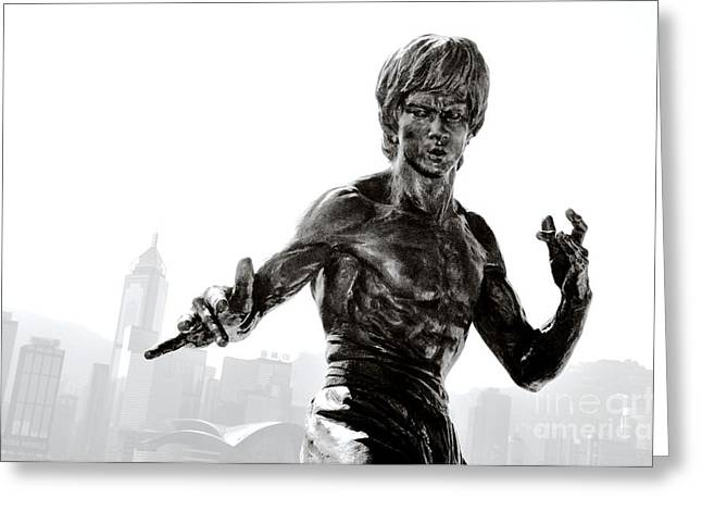 Bruce Lee Statue On The Avenue Of Stars With Hong Kong Skyline Greeting Card