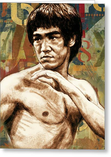 Bruce Lee - Stylised Pop Art Drawing Portrait Poster  Greeting Card by Kim Wang