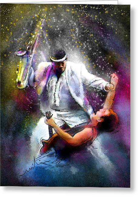 Bruce Springsteen And Clarence Clemons Greeting Card by Miki De Goodaboom