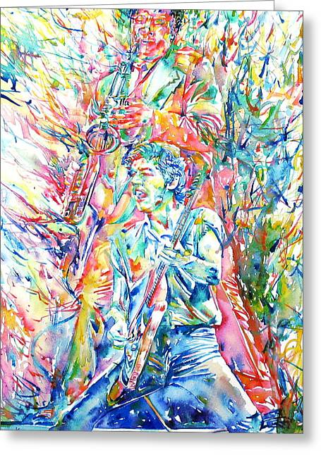 Bruce Springsteen And Clarence Clemons Watercolor Portrait Greeting Card by Fabrizio Cassetta