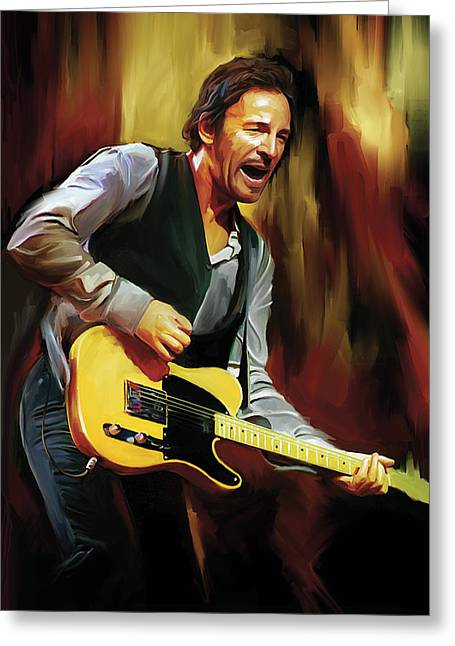 Bruce Springsteen Artwork Greeting Card by Sheraz A