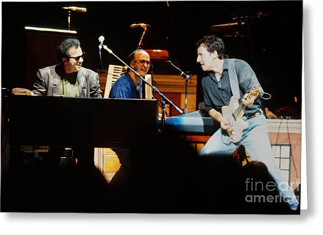 Bruce Springsteen Billy Joel And Paul Schaffer Greeting Card by Chuck Spang