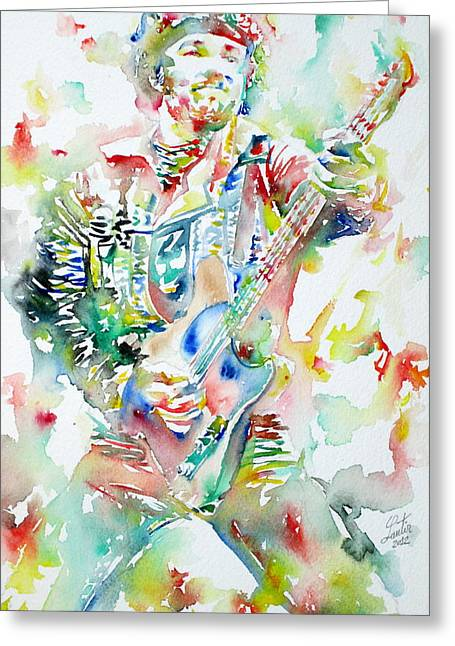 Bruce Springsteen Playing The Guitar Watercolor Portrait Greeting Card by Fabrizio Cassetta